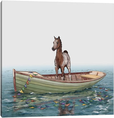 Foal In Rowboat Canvas Art Print