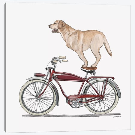 Golden Lab On Bicycle Canvas Print #CAE24} by Carolynn Elshof Canvas Artwork