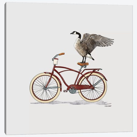 Goose On Bicycle Canvas Print #CAE25} by Carolynn Elshof Canvas Wall Art