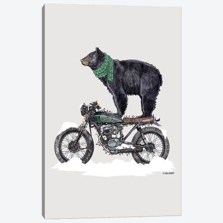 Holiday Black Bear on Motorcycle Canvas Print #CAE29} by Carolynn Elshof Canvas Art Print