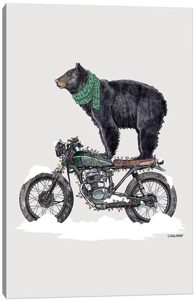 Holiday Black Bear on Motorcycle Canvas Art Print