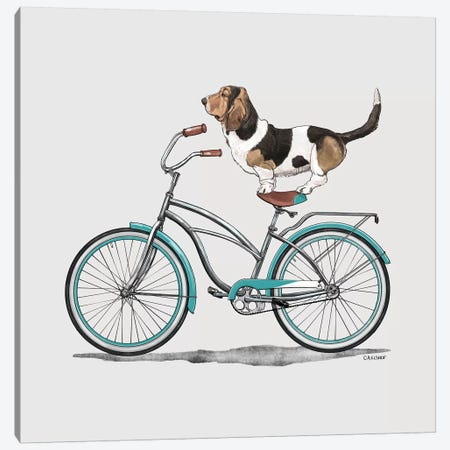 Basset Hound On Bicycle Canvas Print #CAE2} by Carolynn Elshof Art Print