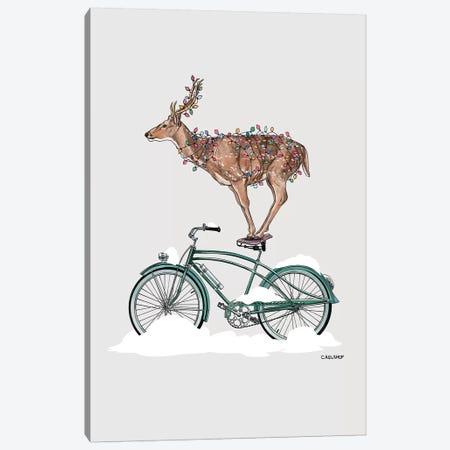 Holiday Deer On Bicycle Canvas Print #CAE30} by Carolynn Elshof Canvas Artwork