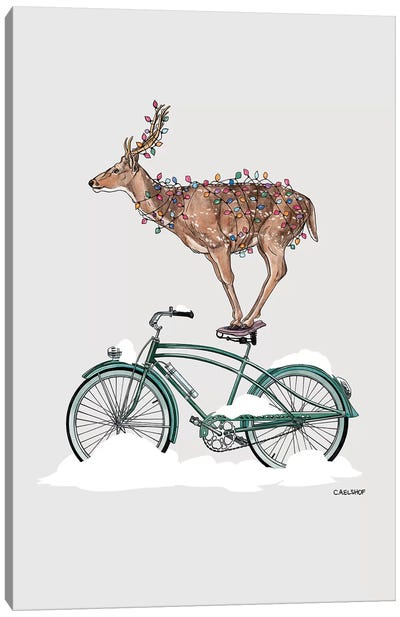 Holiday Deer On Bicycle Canvas Art Print