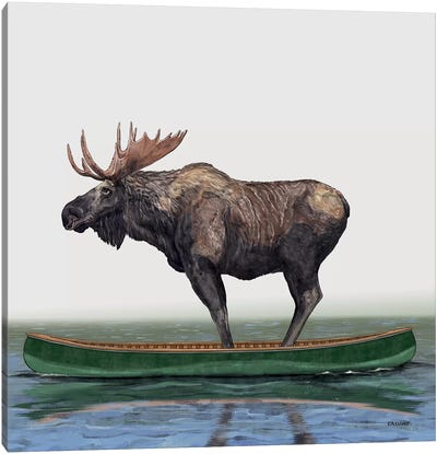 Moose In Canoe Canvas Art Print