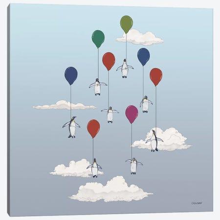Penguins Floating With Balloons Canvas Print #CAE35} by Carolynn Elshof Art Print