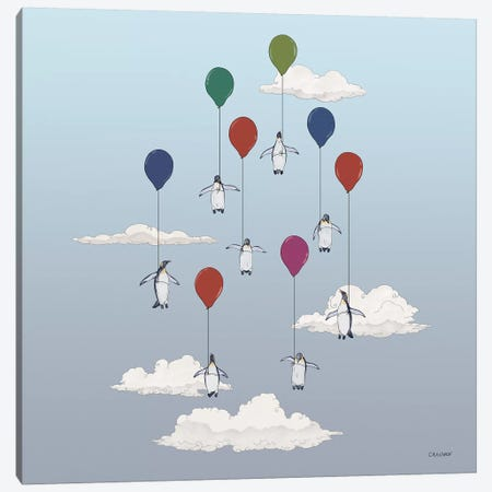 Penguins Floating With Balloons Canvas Print #CAE35} by Carolynn Elshof Art Print