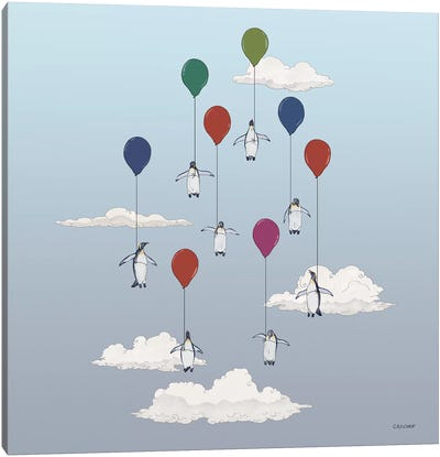 Penguins Floating With Balloons Canvas Art Print