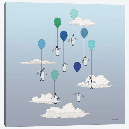 Penguins Floating With Blue Balloons Canvas Print #CAE36} by Carolynn Elshof Art Print