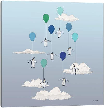 Penguins Floating With Blue Balloons Canvas Art Print