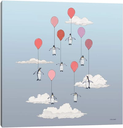 Penguins Floating With Pink Balloons Canvas Art Print