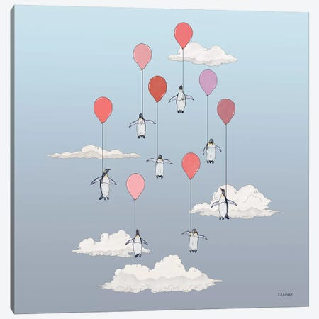 Penguins Floating With Pink Balloons Canvas Print #CAE37} by Carolynn Elshof Canvas Art Print
