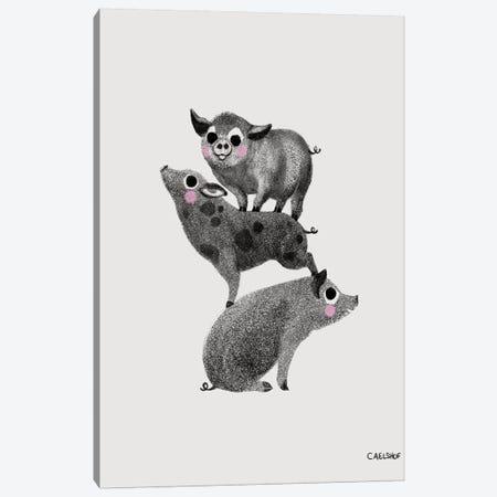 Pig Stack Canvas Print #CAE38} by Carolynn Elshof Canvas Artwork