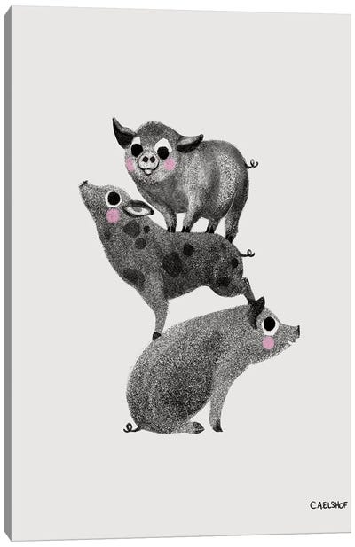 Pig Stack Canvas Art Print
