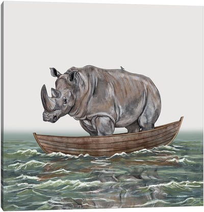 Rhino In Rowboat Canvas Art Print
