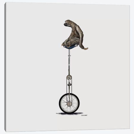 Sloth On Unicycle Canvas Print #CAE44} by Carolynn Elshof Canvas Wall Art