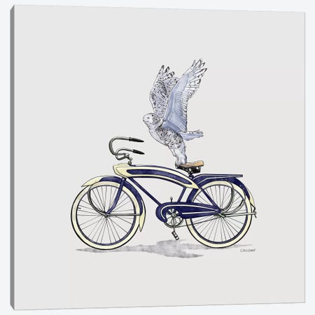 Snowy Owl On Bicycle Canvas Print #CAE45} by Carolynn Elshof Canvas Artwork