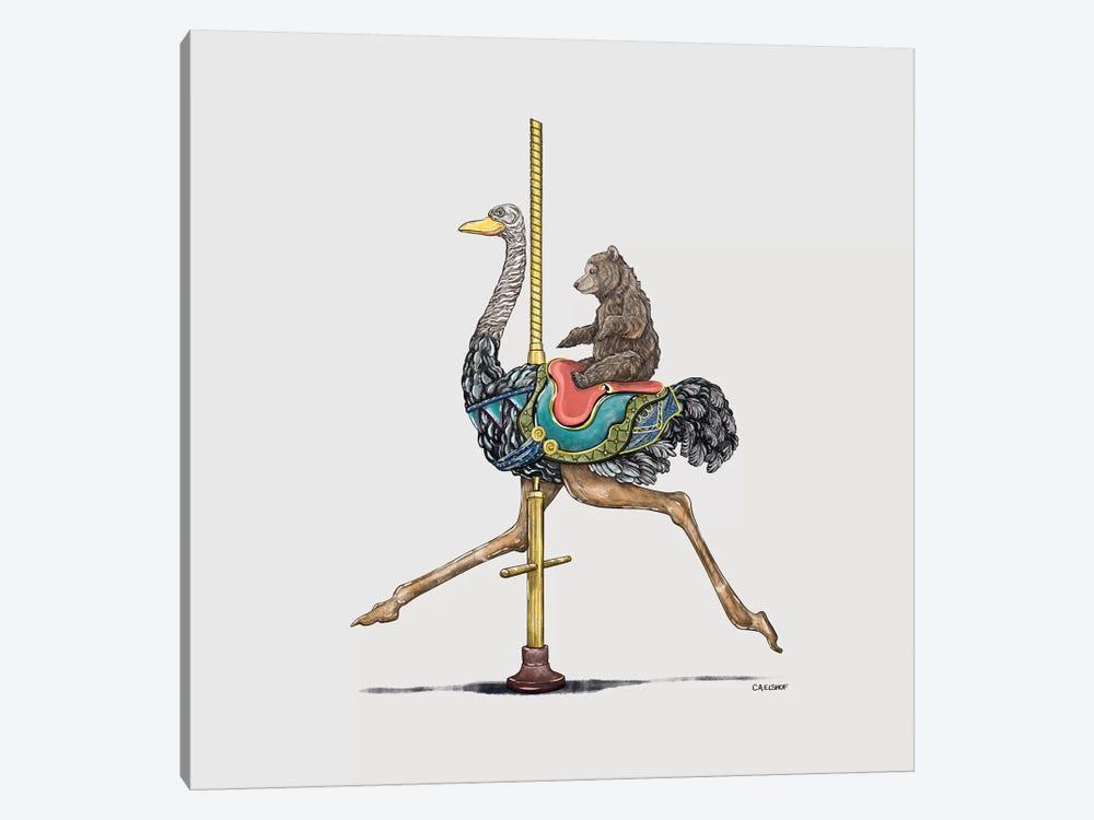 Bear Cub On Ostrich Carousel by Carolynn Elshof 1-piece Art Print