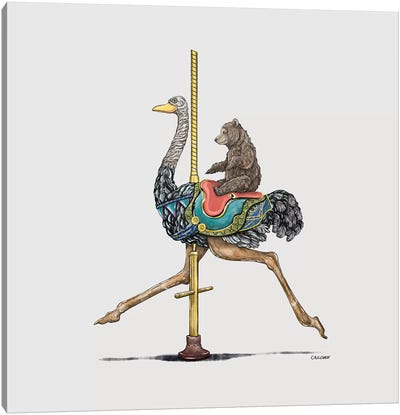 Bear Cub On Ostrich Carousel Canvas Art Print