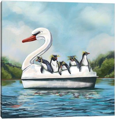 Penguins In Stupendous Vessel Canvas Art Print