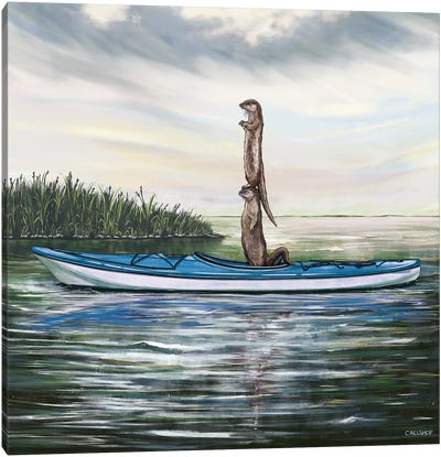 Otters In Kayak Canvas Art Print