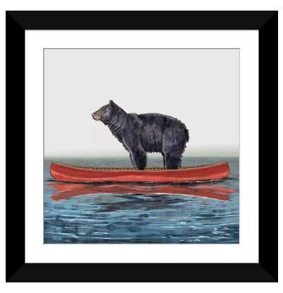Bear In Canoe Framed Art Print