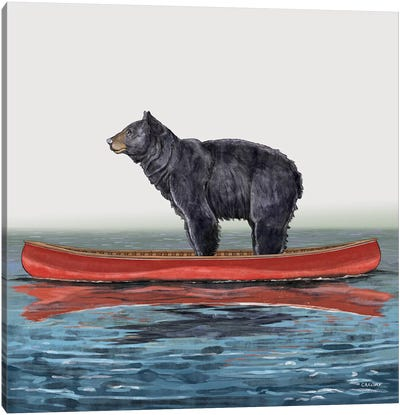 Bear In Canoe Canvas Art Print