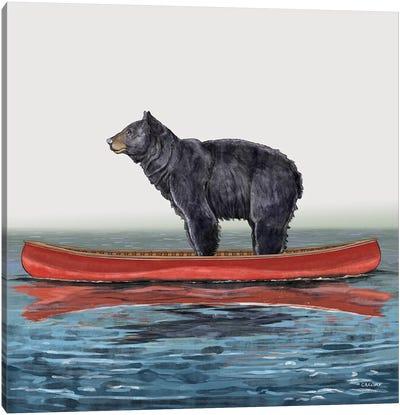 Bear In Canoe Canvas Art Print