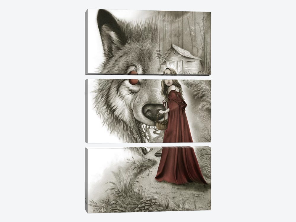 Red Riding Hood by Carlos Fernandez 3-piece Canvas Wall Art