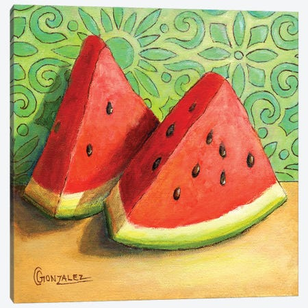 Watermelon Slices Canvas Print #CAG46} by Carmen Gonzalez Canvas Art