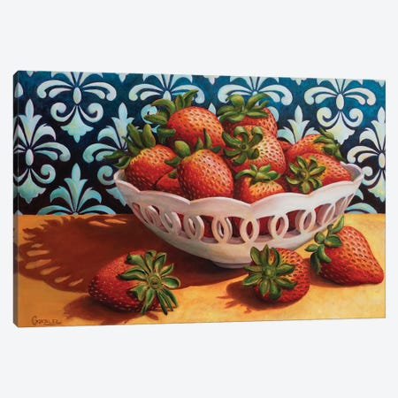 Summer Strawberries Canvas Print #CAG60} by Carmen Gonzalez Art Print