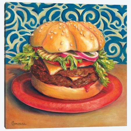 Beautiful Burger Canvas Print #CAG7} by Carmen Gonzalez Canvas Wall Art