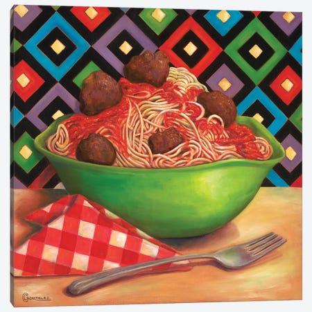 Bessghetti & Meatballs 3-Piece Canvas #CAG8} by Carmen Gonzalez Art Print