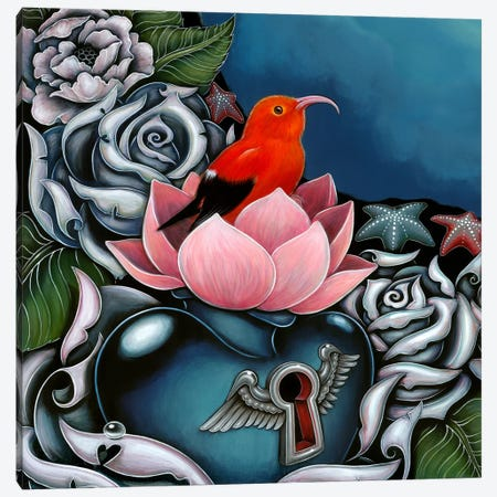 Detail Of Hawaiian Honeycreeper, Monk Canvas Print #CAI30} by Caia Koopman Canvas Art