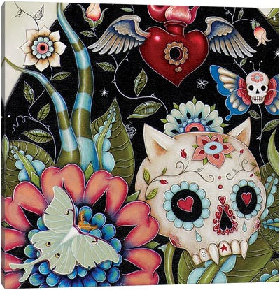 Bottom Left Half In Zoom, White Rabbit Canvas Art Print
