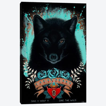 Canis Lupus Canvas Print #CAI5} by Caia Koopman Canvas Artwork