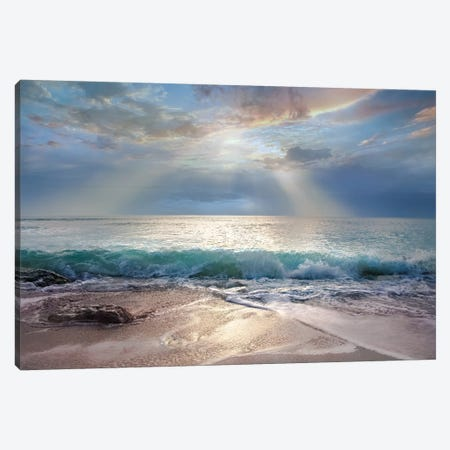 Aqua Blue Morning Canvas Print #CAL79} by Mike Calascibetta Canvas Print