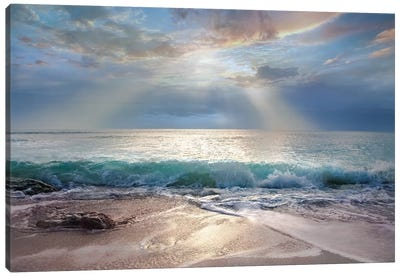 Aqua Blue Morning Canvas Art Print