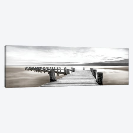 Misty Morning Dock Canvas Print #CAL96} by Mike Calascibetta Canvas Artwork