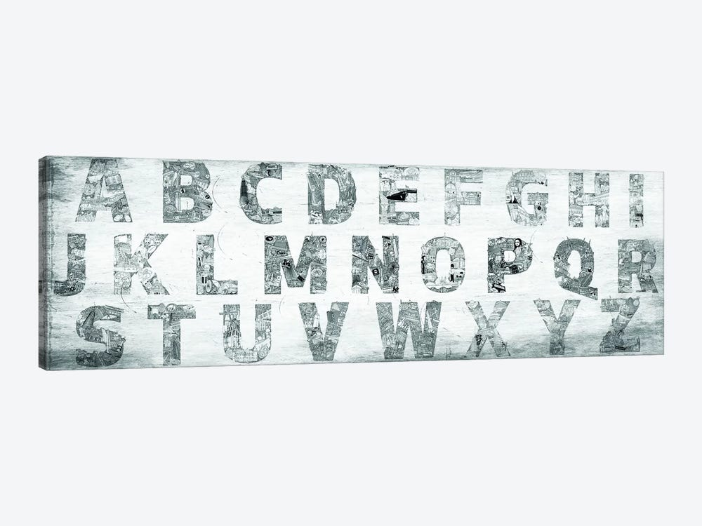 City Alphabet Panoramic 1-piece Canvas Wall Art