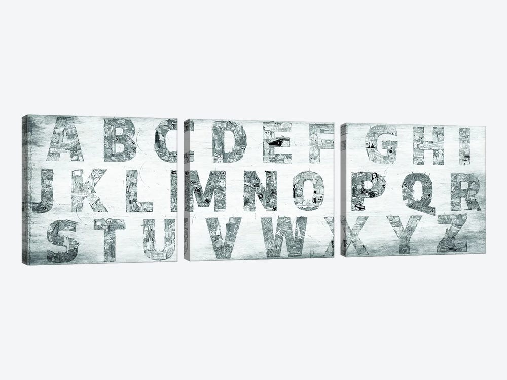 City Alphabet Panoramic by 5by5collective 3-piece Canvas Artwork