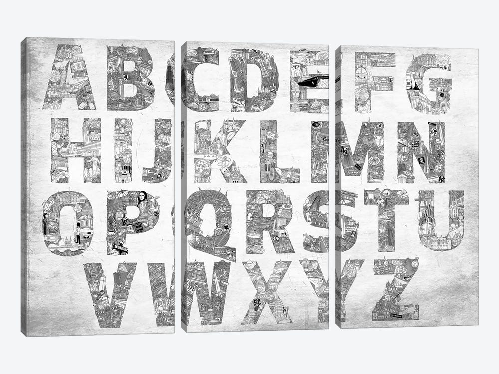 City Alphabet by 5by5collective 3-piece Canvas Art Print