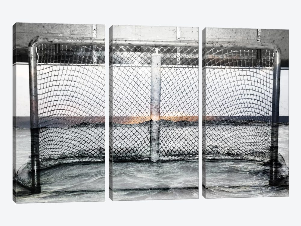 Hockey Goal Gate #2 by Unknown Artist 3-piece Canvas Print