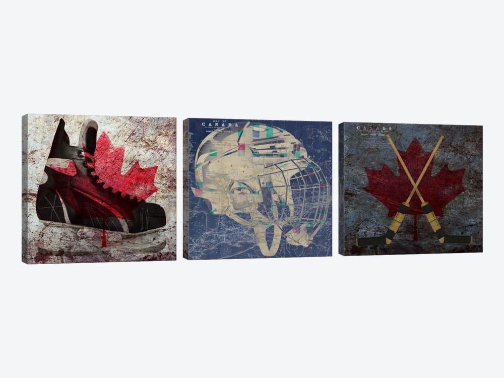 Hockey Ice Skates, Mask, Sticks by Unknown Artist 3-piece Art Print