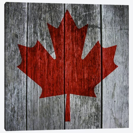 Canadian Flag Red Maple Leaf Canvas Print #CAN14F} by Unknown Artist Canvas Art