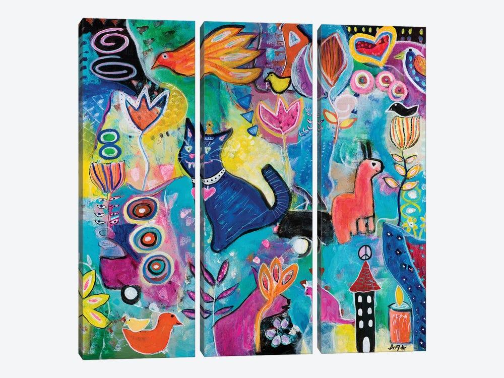 Feline Fantasy by Christine Auda 3-piece Canvas Print