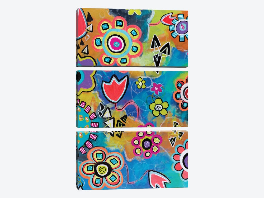 Flowershower by Christine Auda 3-piece Canvas Art