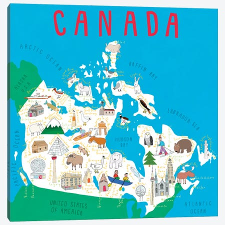 Illustrated Countries Canada Canvas Print #CAY14} by Carla Daly Canvas Print
