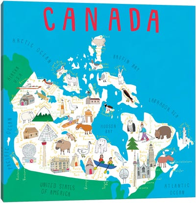 Illustrated Countries Canada Canvas Art Print