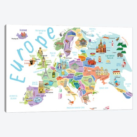 Illustrated Countries of Europe Canvas Print #CAY15} by Carla Daly Canvas Print